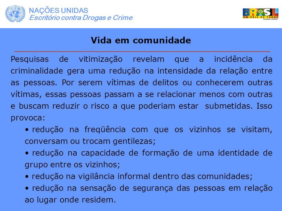 NAÇÕES UNIDAS Escritório contra Drogas e Crime. Vida em comunidade.