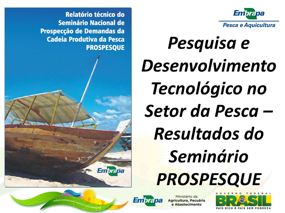 Pesquisa e Desenvolvimento Tecnológico no Setor da Pesca – Resultados do Seminário PROSPESQUE