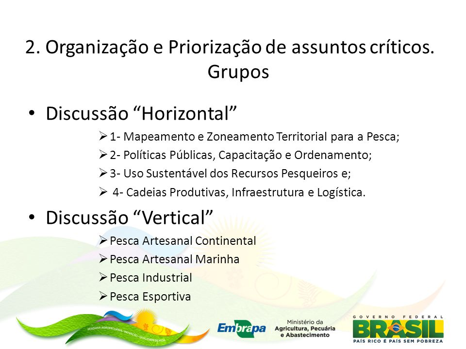 2. Organização e Priorização de assuntos críticos. Grupos