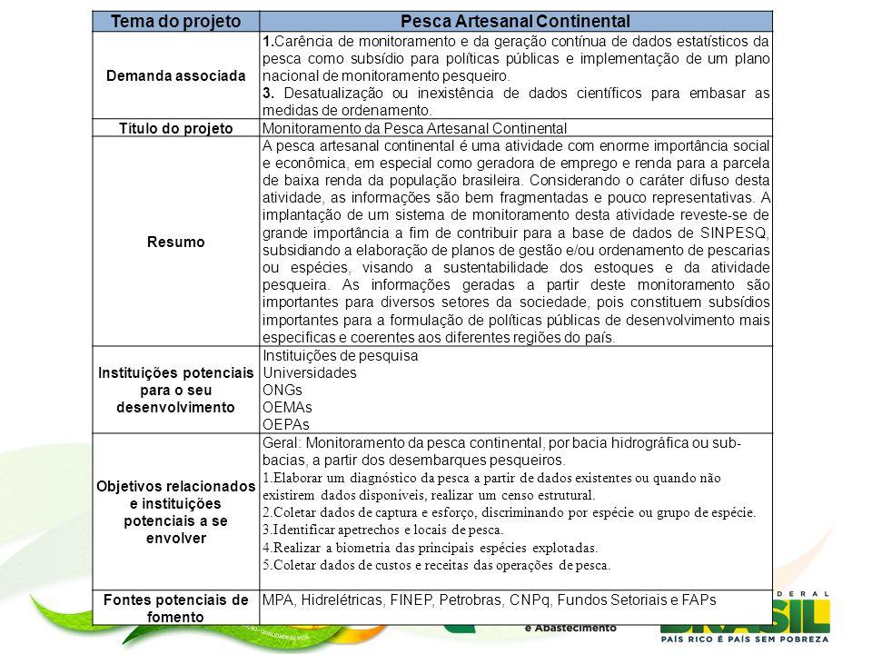 Tema do projeto Pesca Artesanal Continental