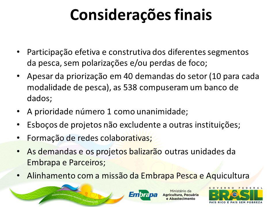 Considerações finais Participação efetiva e construtiva dos diferentes segmentos da pesca, sem polarizações e/ou perdas de foco;