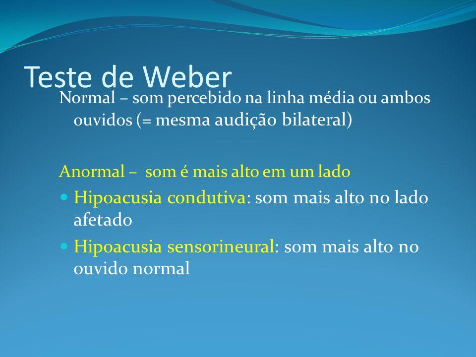 Teste de Weber Hipoacusia condutiva: som mais alto no lado afetado
