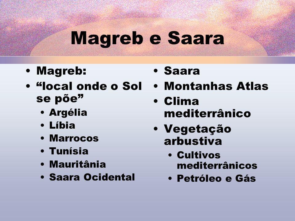 Magreb e Saara Magreb: local onde o Sol se põe Saara Montanhas Atlas