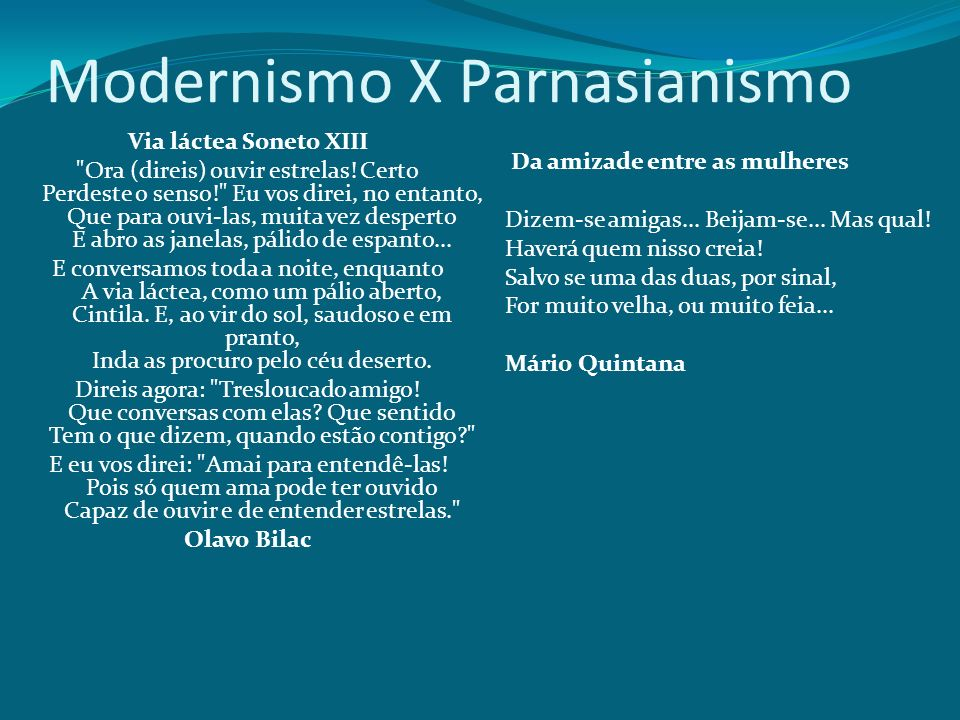 Modernismo X Parnasianismo