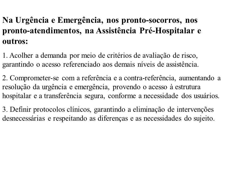 Na Urgência e Emergência, nos pronto-socorros, nos pronto-atendimentos, na Assistência Pré-Hospitalar e outros: