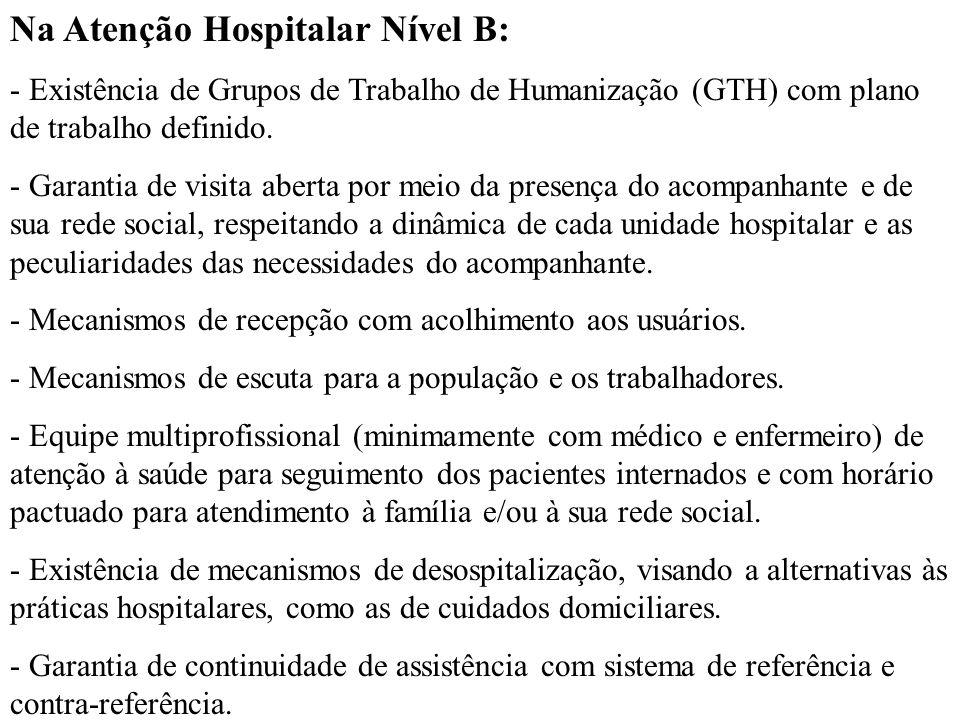 Na Atenção Hospitalar Nível B: