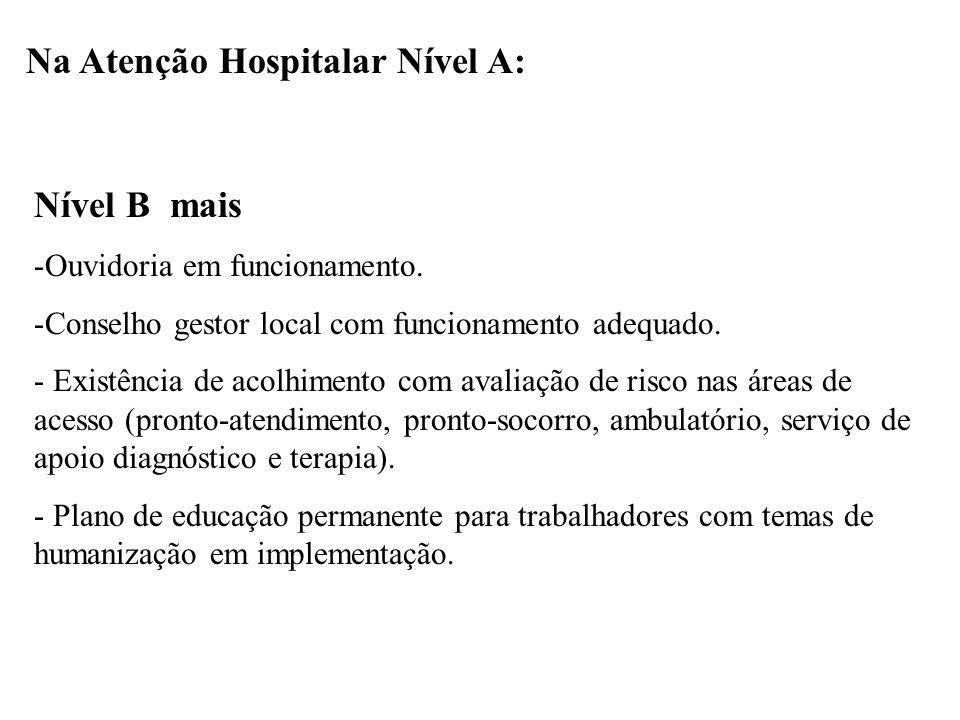 Na Atenção Hospitalar Nível A: