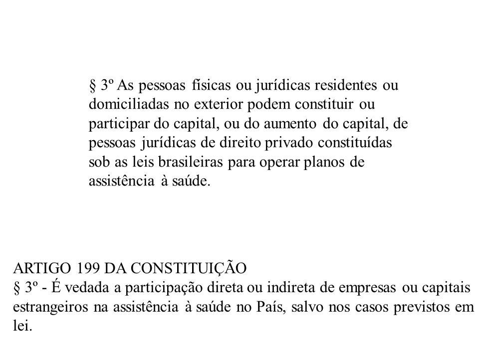 § 3º As pessoas físicas ou jurídicas residentes ou domiciliadas no exterior podem constituir ou participar do capital, ou do aumento do capital, de pessoas jurídicas de direito privado constituídas sob as leis brasileiras para operar planos de assistência à saúde.