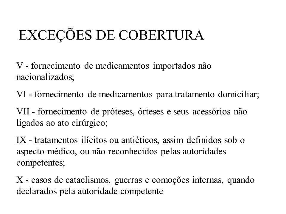 EXCEÇÕES DE COBERTURA V - fornecimento de medicamentos importados não nacionalizados; VI - fornecimento de medicamentos para tratamento domiciliar;