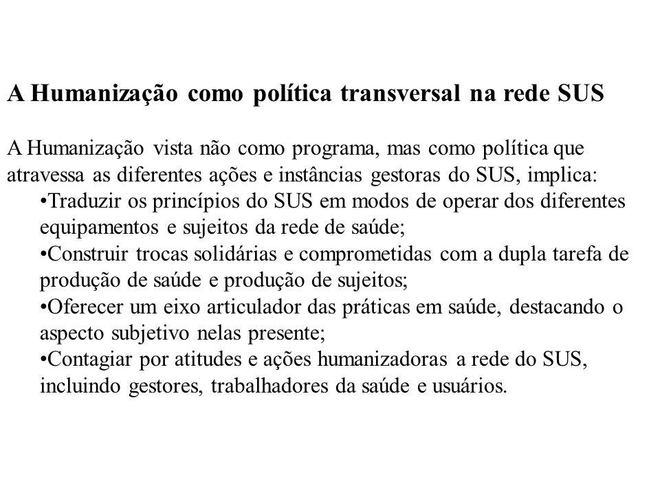 A Humanização como política transversal na rede SUS A Humanização vista não como programa, mas como política que atravessa as diferentes ações e instâncias gestoras do SUS, implica:
