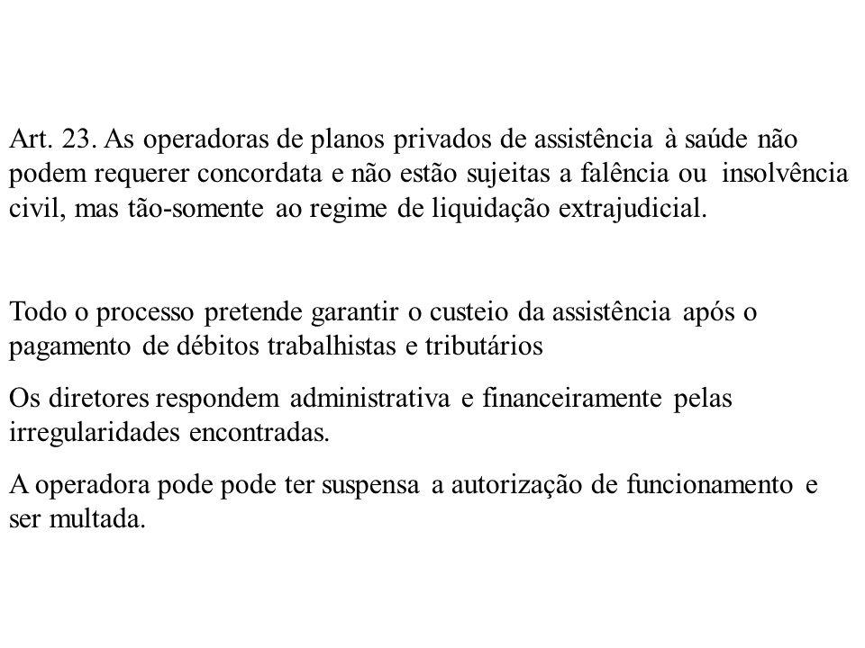 Art. 23. As operadoras de planos privados de assistência à saúde não podem requerer concordata e não estão sujeitas a falência ou insolvência civil, mas tão-somente ao regime de liquidação extrajudicial.