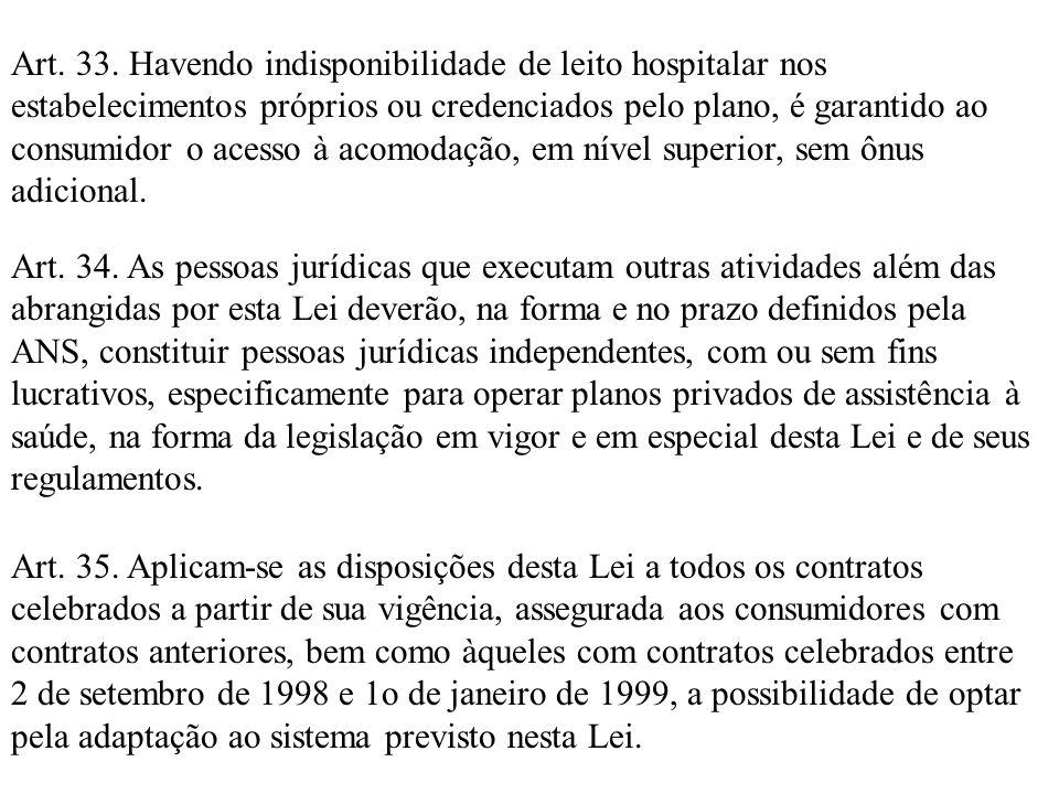 Art. 33. Havendo indisponibilidade de leito hospitalar nos estabelecimentos próprios ou credenciados pelo plano, é garantido ao consumidor o acesso à acomodação, em nível superior, sem ônus adicional.
