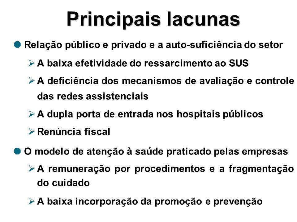 Principais lacunas Relação público e privado e a auto-suficiência do setor. A baixa efetividade do ressarcimento ao SUS.