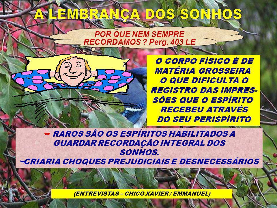 A LEMBRANÇA DOS SONHOS O CORPO FÍSICO É DE MATÉRIA GROSSEIRA