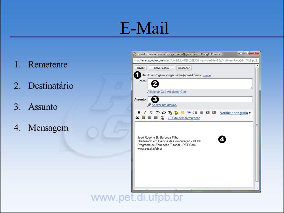 E-Mail Remetente Destinatário Assunto Mensagem