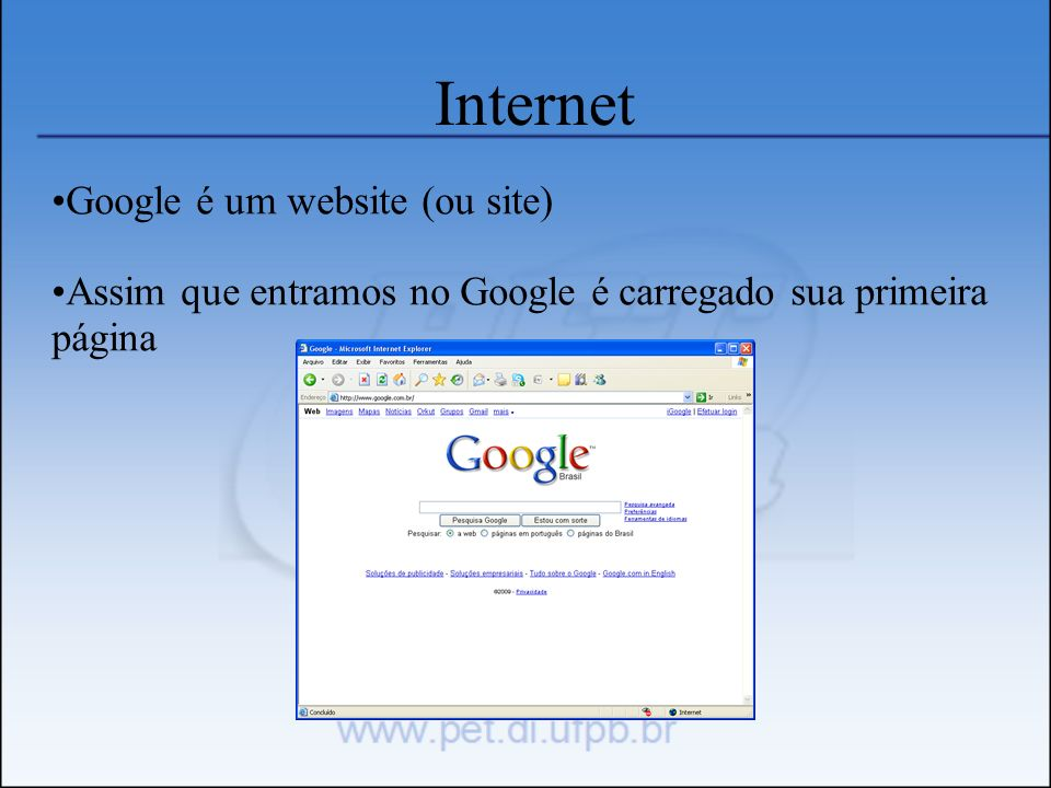 Internet Google é um website (ou site)