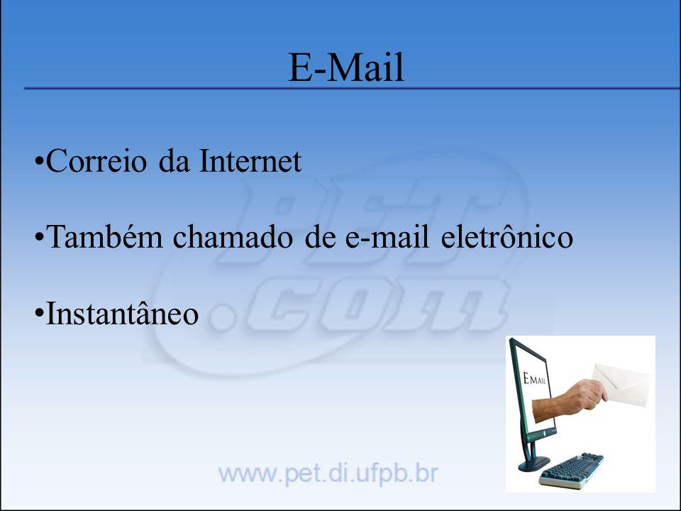 E-Mail Correio da Internet Também chamado de e-mail eletrônico