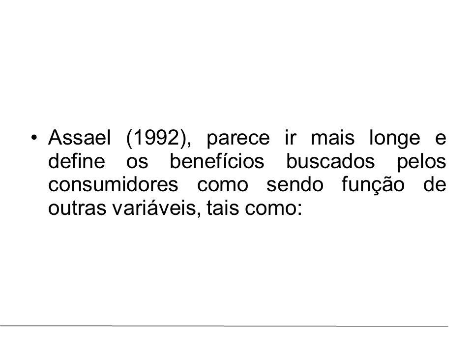 Assael (1992), parece ir mais longe e define os benefícios buscados pelos consumidores como sendo função de outras variáveis, tais como: