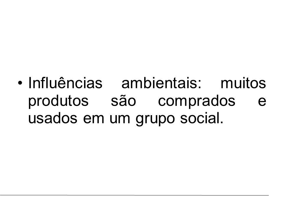 Influências ambientais: muitos produtos são comprados e usados em um grupo social.