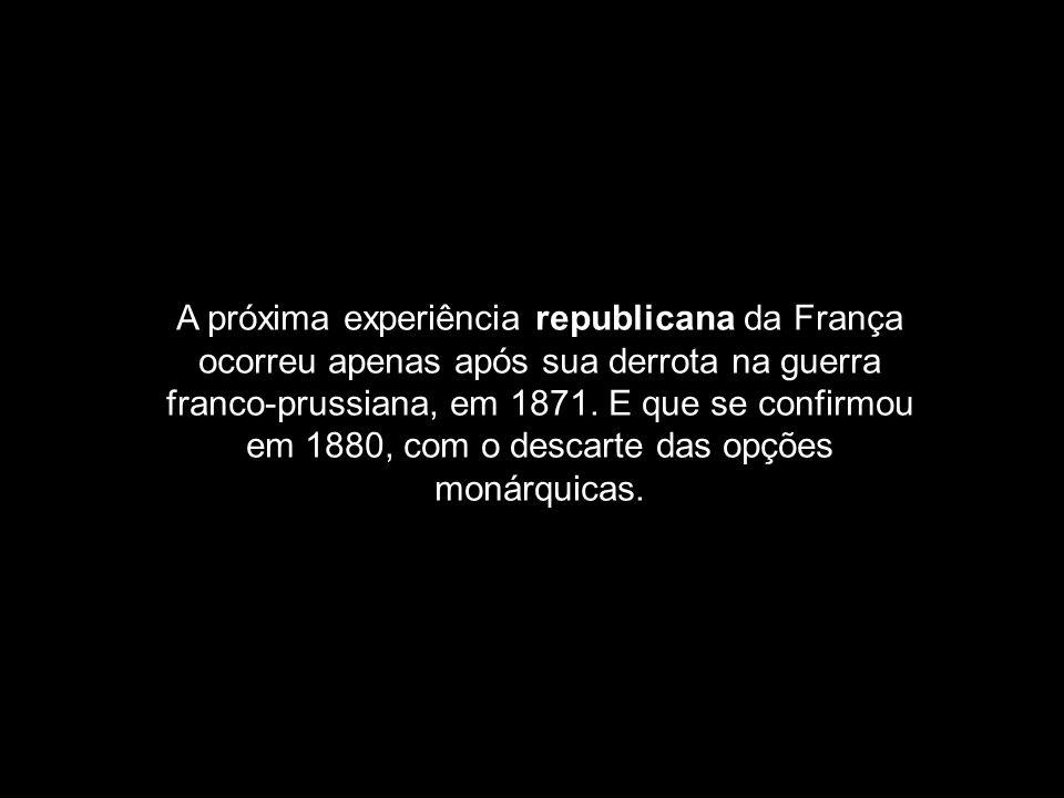 A próxima experiência republicana da França ocorreu apenas após sua derrota na guerra franco-prussiana, em 1871.
