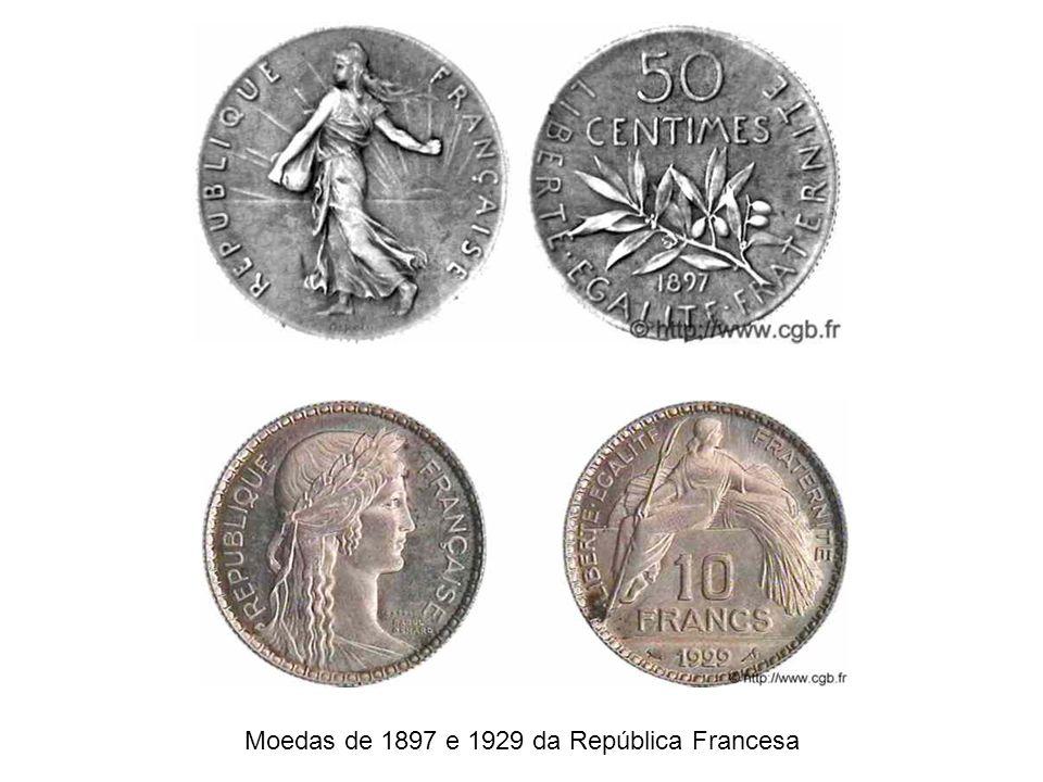 Moedas de 1897 e 1929 da República Francesa