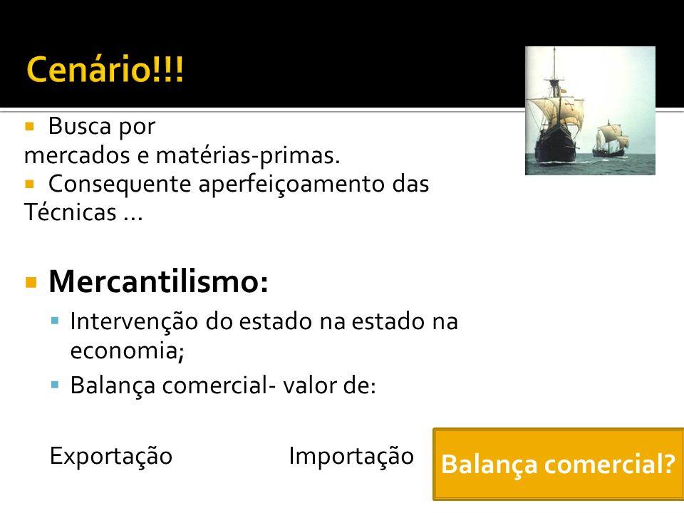 Cenário!!! Mercantilismo: Balança comercial Busca por