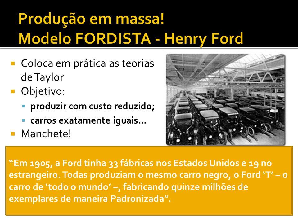 Produção em massa! Modelo FORDISTA - Henry Ford
