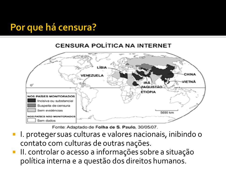 Por que há censura I. proteger suas culturas e valores nacionais, inibindo o contato com culturas de outras nações.