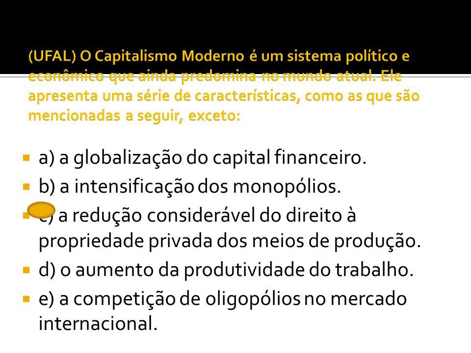 a) a globalização do capital financeiro.