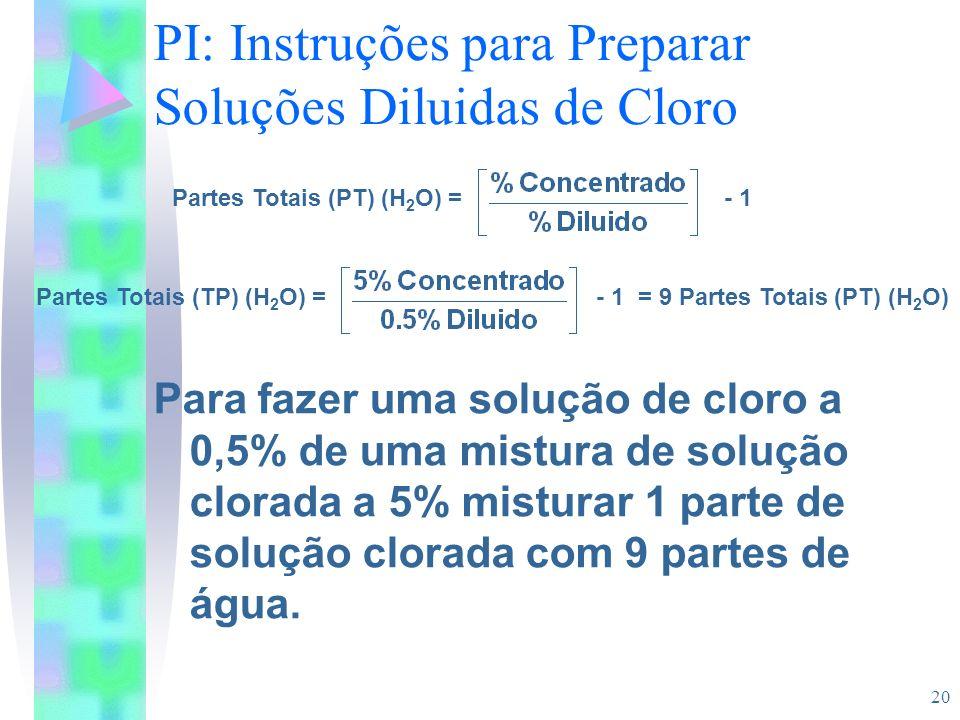 PI: Instruções para Preparar Soluções Diluidas de Cloro
