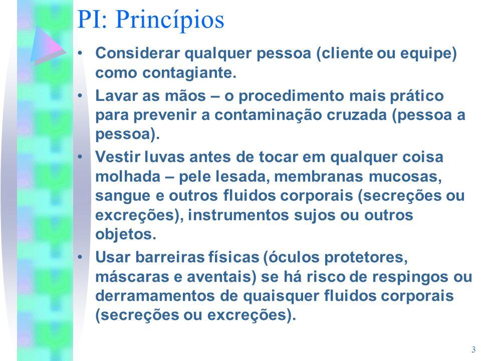 PI: Princípios Considerar qualquer pessoa (cliente ou equipe) como contagiante.