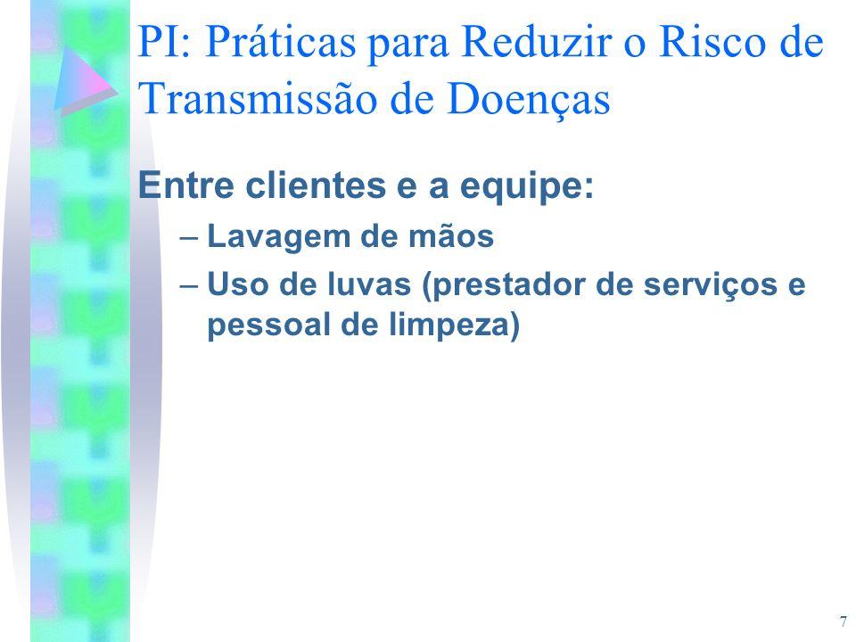 PI: Práticas para Reduzir o Risco de Transmissão de Doenças