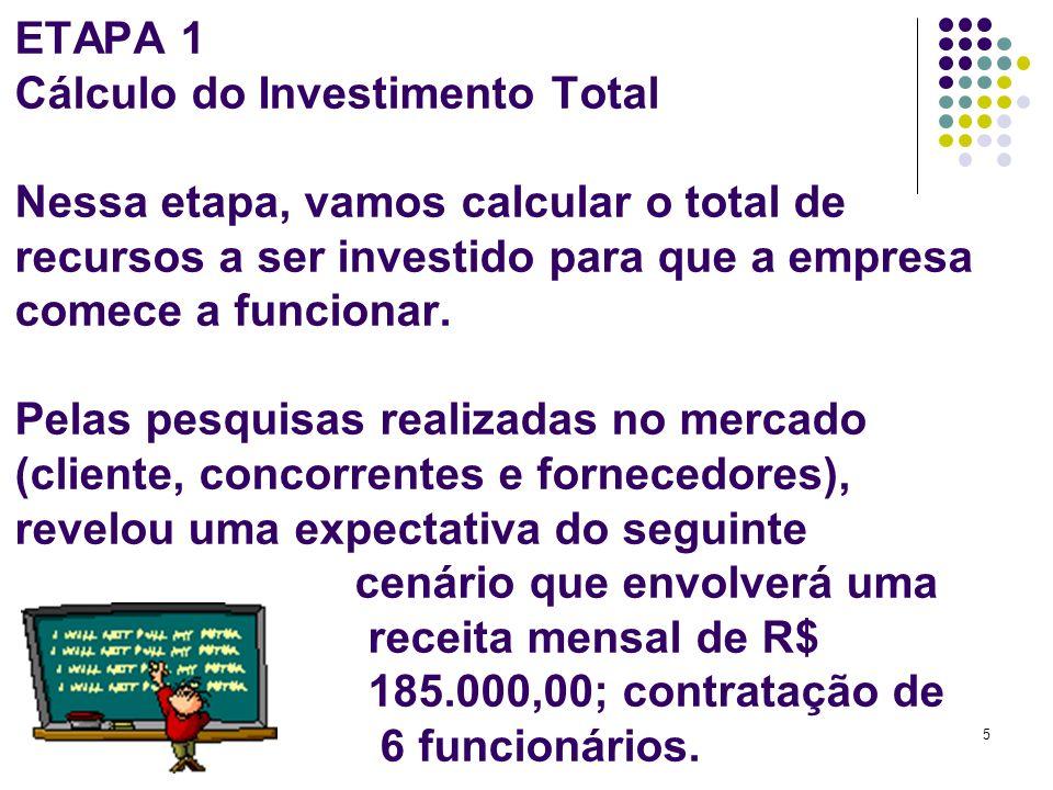 ETAPA 1 Cálculo do Investimento Total Nessa etapa, vamos calcular o total de recursos a ser investido para que a empresa comece a funcionar.