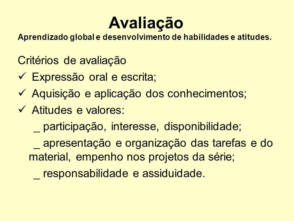 Avaliação Aprendizado global e desenvolvimento de habilidades e atitudes.