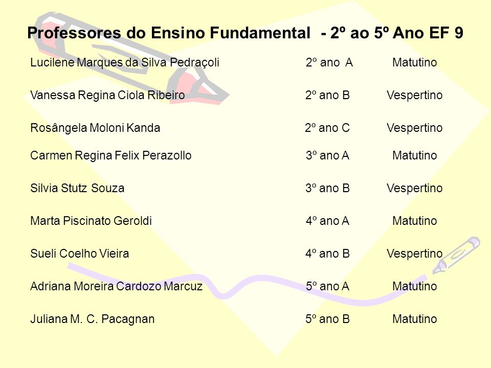 Professores do Ensino Fundamental - 2º ao 5º Ano EF 9