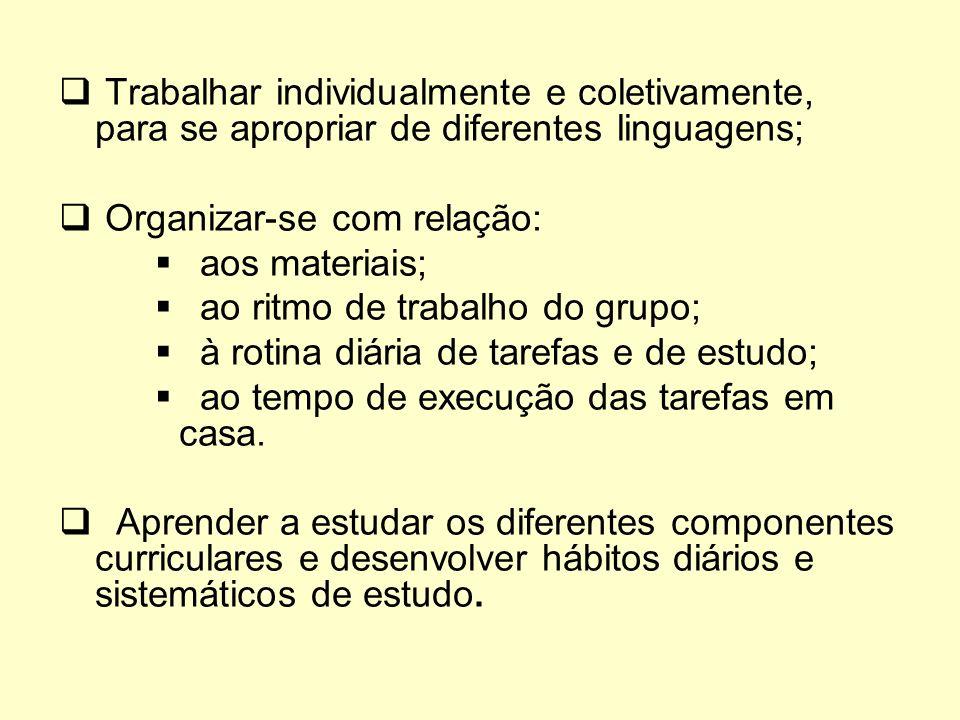 Trabalhar individualmente e coletivamente, para se apropriar de diferentes linguagens;