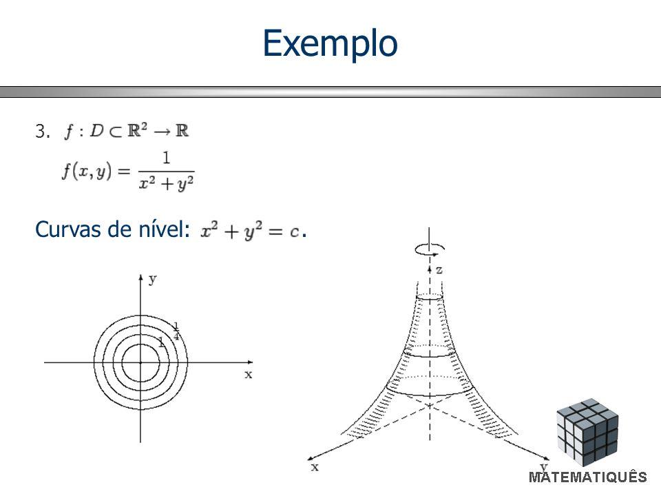 Exemplo Curvas de nível: . 3.