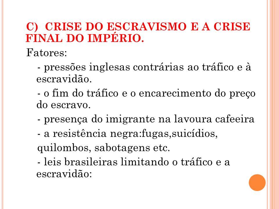C) CRISE DO ESCRAVISMO E A CRISE FINAL DO IMPÉRIO