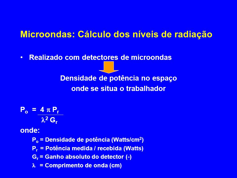 Microondas: Cálculo dos níveis de radiação