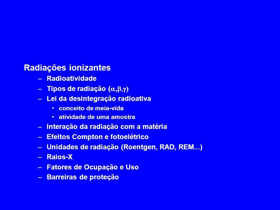 Radiações ionizantes Radioatividade Tipos de radiação (a,b,g)
