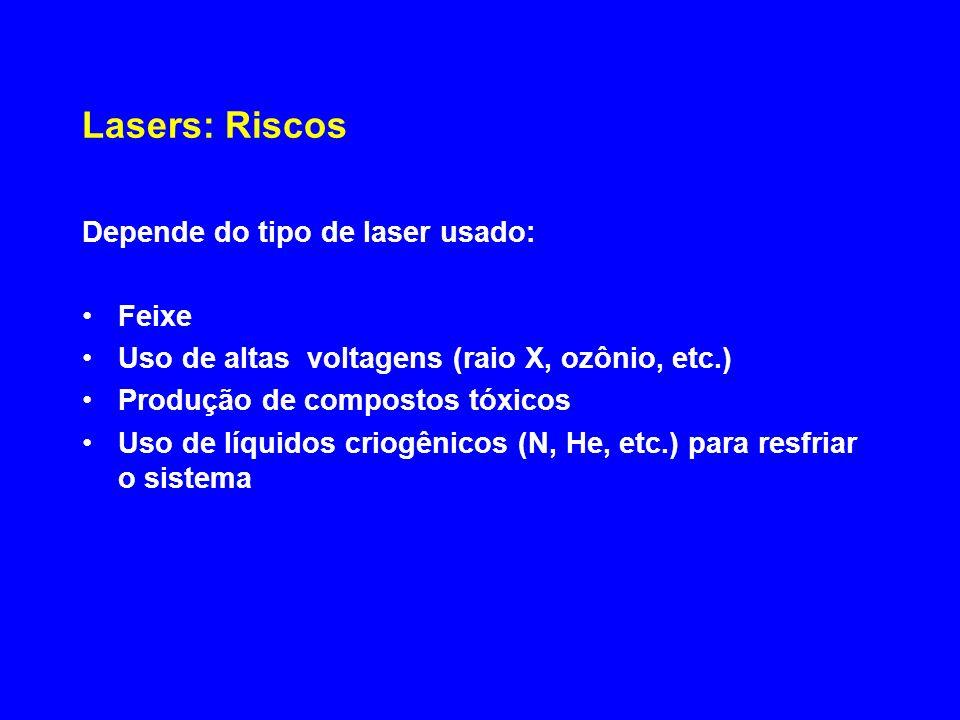 Lasers: Riscos Depende do tipo de laser usado: Feixe