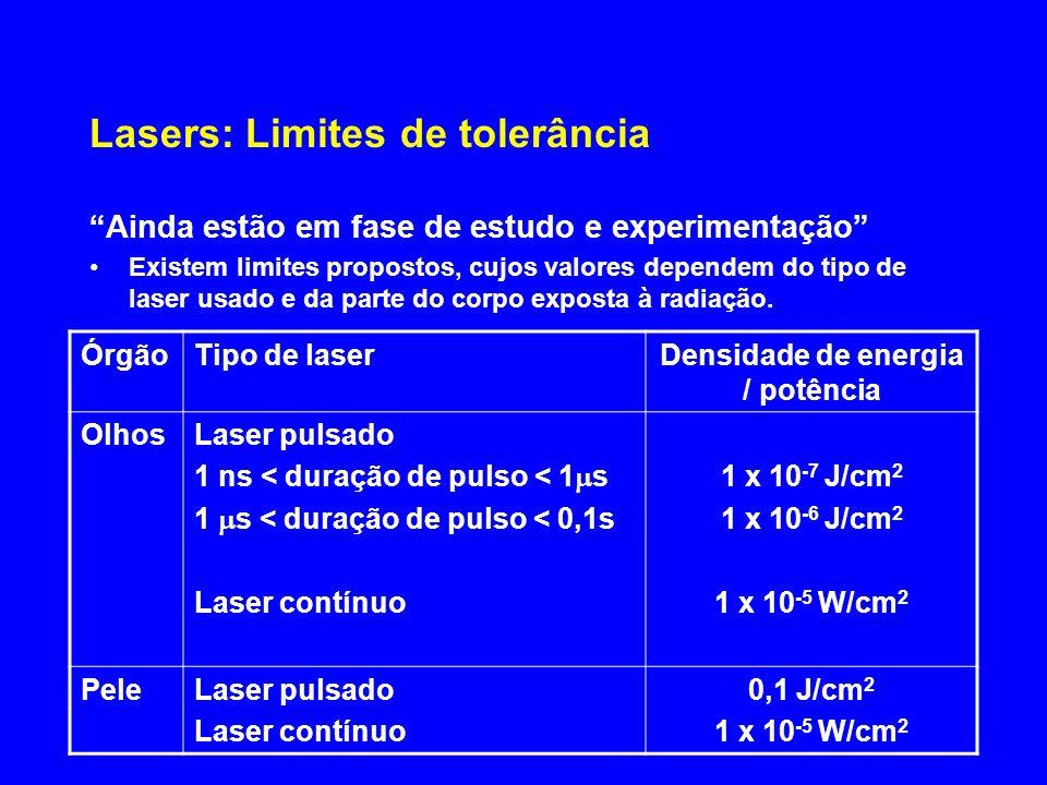 Lasers: Limites de tolerância
