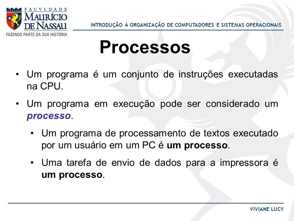 Processos Um programa é um conjunto de instruções executadas na CPU.