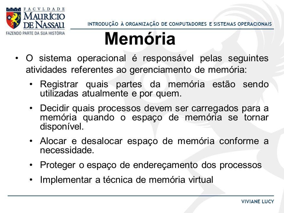 Memória O sistema operacional é responsável pelas seguintes atividades referentes ao gerenciamento de memória:
