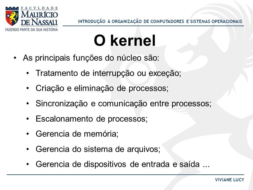 O kernel As principais funções do núcleo são: