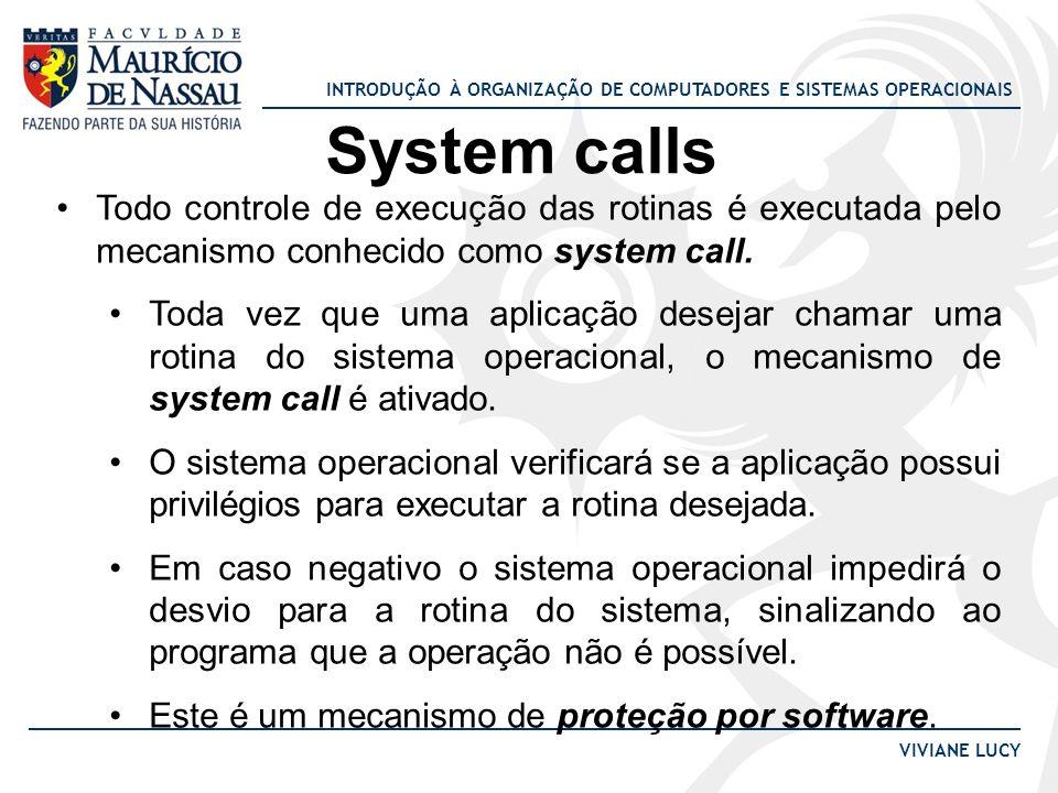 System calls Todo controle de execução das rotinas é executada pelo mecanismo conhecido como system call.