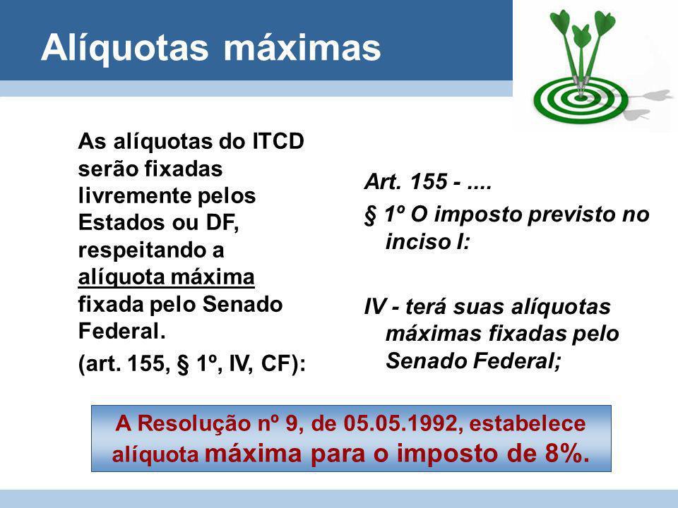 Alíquotas máximasAs alíquotas do ITCD serão fixadas livremente pelos Estados ou DF, respeitando a alíquota máxima fixada pelo Senado Federal.