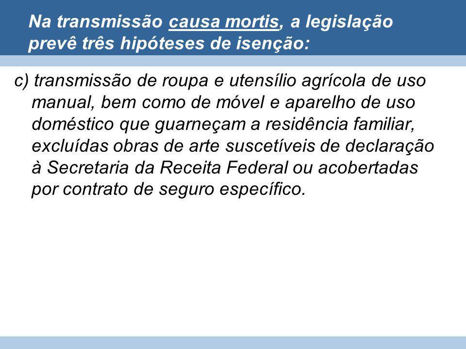 Na transmissão causa mortis, a legislação prevê três hipóteses de isenção: