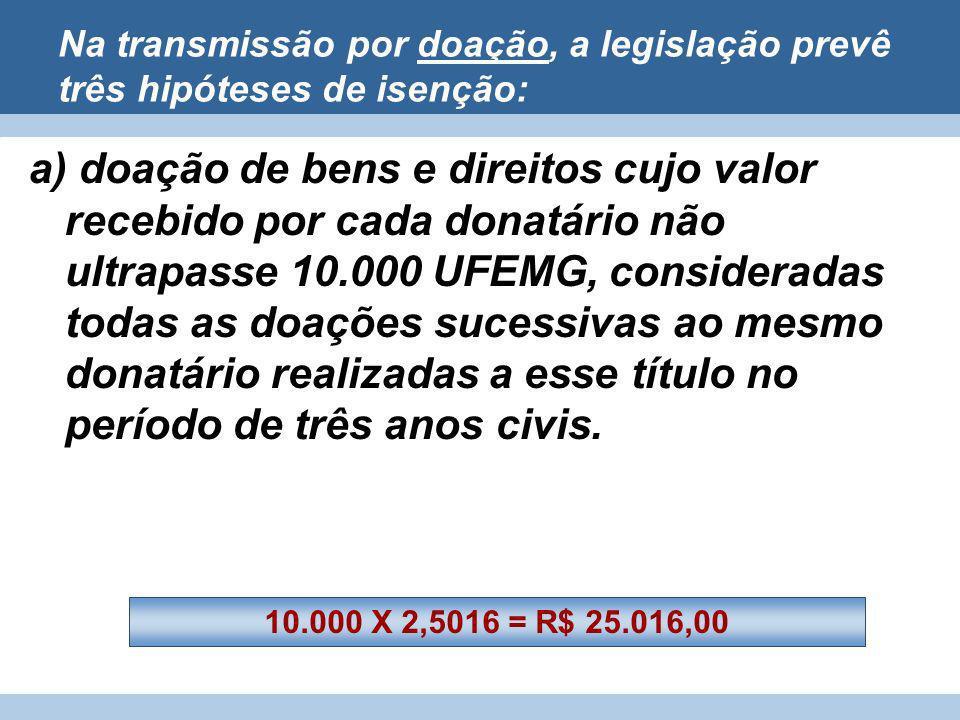 Na transmissão por doação, a legislação prevê três hipóteses de isenção: