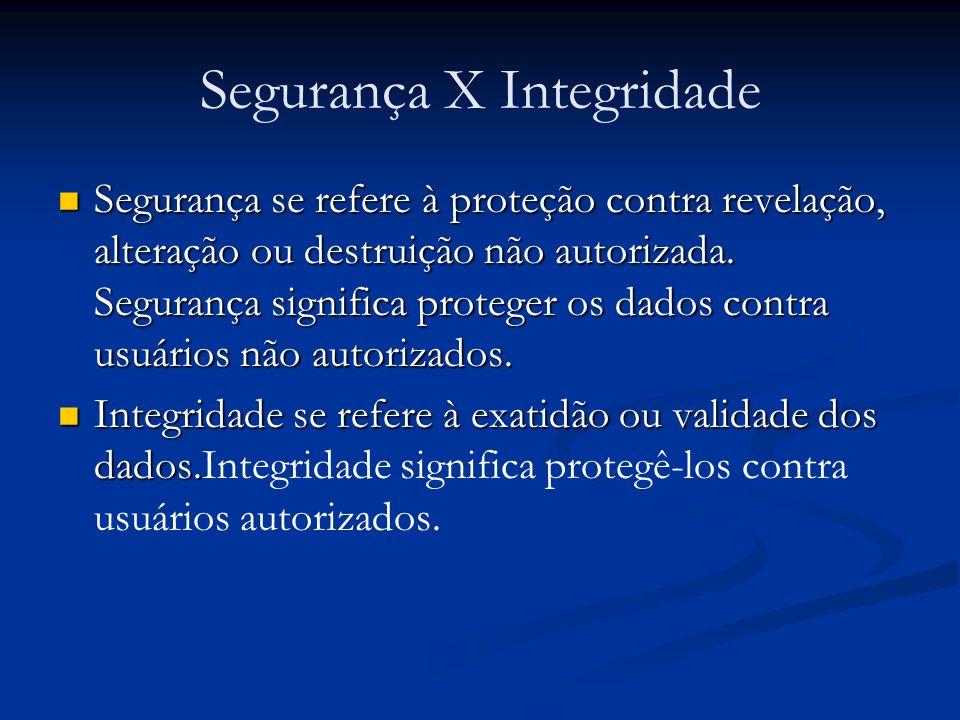 Segurança X Integridade